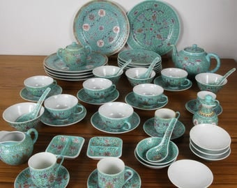 Vintage Chinese China Set, Dinnerware Set Rose Famille 55 Pcs  Turquoise Green Longevity Symbols