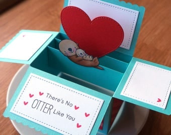 birthday card for mom // unique card for mom // card for mom // mother's day card // box card // otter pun card