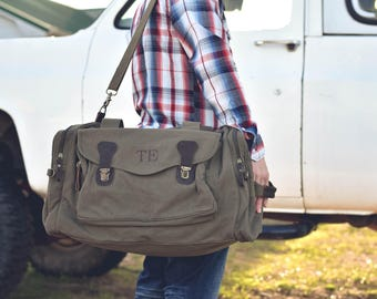 10 Personalized Groomsmen Gift, Military Style Weekend Travel Duffel Bag Canvas Long Weekender, wedding gift, dad gift, graduation gift