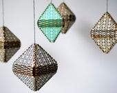 Geometric Crib Mobile, Grey Nursery Mobile, Lasercut Wood Mobile, Abstract Children's Decor