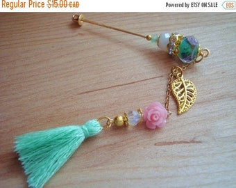 15% OFF SALE Spring Blooms- Pink Floral & Mint Tassel Hijab Pin- Stick Pins / Hat Pins / Decorative Pins / Eid Gifts / Bridal Gifts / Tassel