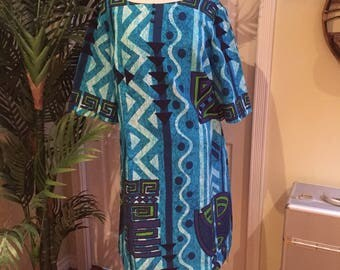 Big sale Amazing 1970s tiki Hawaiian barkcloth dress