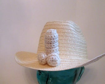 BACHELORETTE HAT, straw penis hat, bach party wear, girls night out, penis cowboy hat, gay cowboy hat, adult novelty hat, hat with penis
