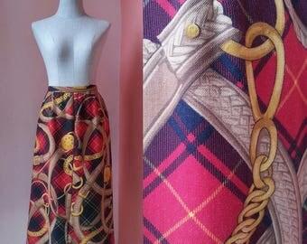 80s Skirt Casual Skirt Summer Skirt Womens Skirts Retro Skirt Hipster Skirt Day Skirt Vintage 1980s Baroque Print Midi Skirt XS Extra Small