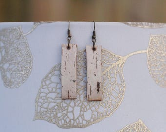 Mid-Length Earrings|Birch Bark|Natural Materials|Gift for Her|Bridal|Woodsy|Elegant|Handmade|Sustainably Harvested|Rugged