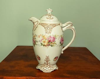 Hermann Ohme Old Ivory China Chocolate Pot Clarion Pink Roses