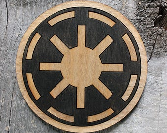 Galactic Republic Wood Coaster | Rustic/Vintage | Hand Stained and Glued | Comic Book Gift | Star Wars