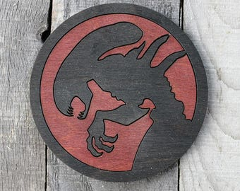 Alien Xenomorph Wood Coaster | Rustic/Vintage | Hand Stained and Glued | Aliens