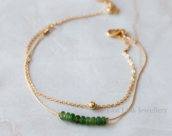 Handmade petite style 14K Gold plated natural stone peridot olive green August birthstone bracelet birthday gift beaded chain bracelet