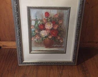 Pretty Framed 70's Era Flowers In Vase Painting Signed
