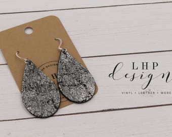 Silver Metallic Crackle on Black Cowhide Leather Earrings