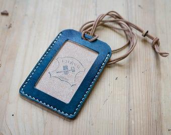 Navy Blue Hermann Oak Leather ID Card Holder (Tall)
