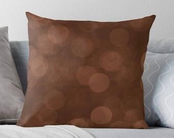 Copper Throw Pillow, Modern Decor, Brown Pillow, Copper Cushion, Earth Tone Decor, Abstract Decor, Bronze Pillow, Minimalist Decor, Bokeh