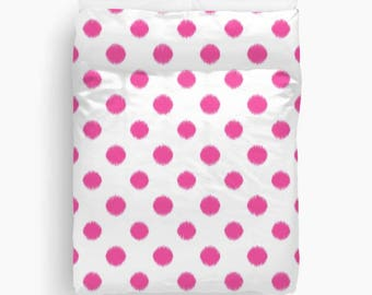 Girls Bedroom Decor, Fuchsia Duvet Cover, Polka Dots, Ikat Bedding, Duvet Cover Twin, Queen, King, Pink Bedding, Teen Girl Room Decor, Tween