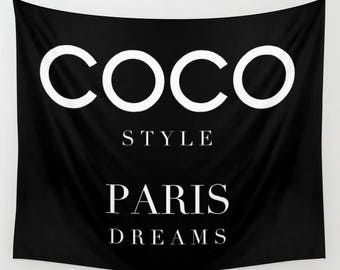 Fashion Wall Art, Fashion Decor, Wall Tapestry, Chanel inspired, Wall Hanging, Dorm Tapestry, Dorm Room, Teen Girl Room Decor, Gifts for Her
