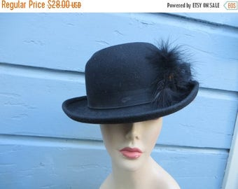 Sale Vintage Ladies Fedora Hat Black Feather Plume Doeskin Felt Wool Geo W Bollman and Co Made in USA  60s 70s Bowler