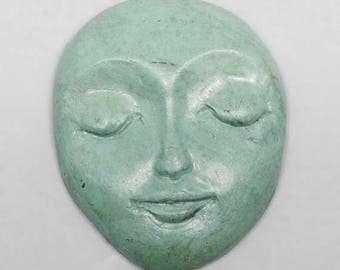 SALE - Green Faux Stone Polymer Clay Face Cabochon Art Doll Face