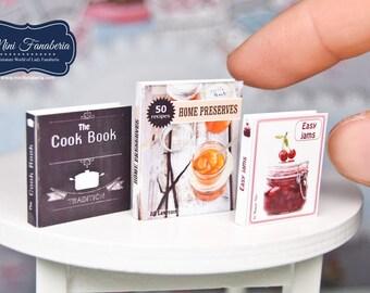 Miniature books - preserves cook jam- handmade Dollhouse 1:12 scale