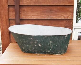 Antique Tin Baby Bathtub, Vintage Baby Bath, Old Tin Tub, Rustic Baby Tub