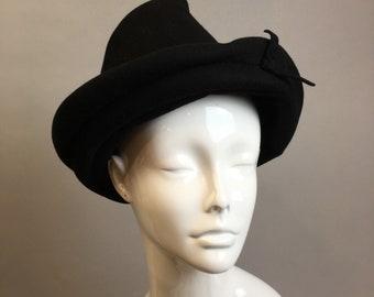 Vintage Womens Homburg Hat// 40s Homburg Style hat// Vintage Womens Fedora
