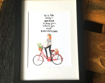 Life is like riding a bicycle. Bicycle Illustration. Optional Frame