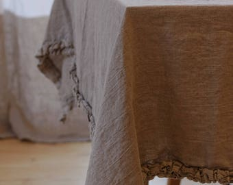Linen tablecloth with ruffles, 100% flax,  Natural linen tablecloth, Rustic tablecloth, Tablecloth with frill