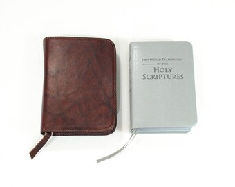 Pocket Size NWT - New World Translation Bible Cover Jehovah's Witness - Red Wine / Burgundy Leather