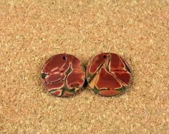 Red Creek Jasper Round Matched Pair - Yellow Red and Green Smooth Circle Front Drilled Matched Pair