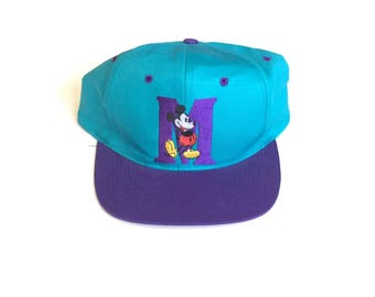 90s NWT Disney Mickey Mouse twill cotton Snapback Snap back Strapback hat One Size fits all Adult Unisex twill