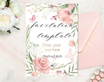 Watercolor flowers invitations template.  Soft pink roses, pastel  and nude palette. Printable invitation template.  Instant Download