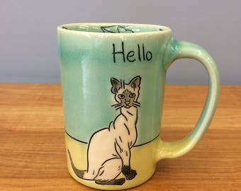 Handmade Mug, Hello/Toodle-oo Kitties. In Aqua & Lime. MA47