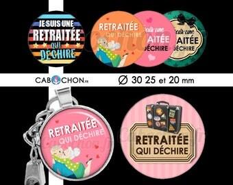 Retraitée qui déchire ! • 45 Images Digitales RONDES 30 25 et 20 mm retraite cabochon cabochons badge miroir moustache retraitee voyage vent