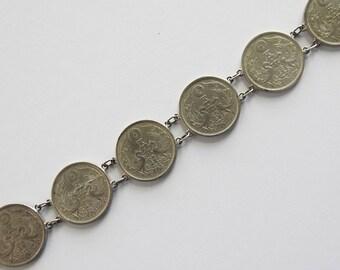 Sterling Bracelet of six 1920's Japanese Coins