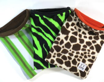Bonding pouch - small snuggle sack - with boning - will stay open - rat - guinea pig - sugar glider - giraffe - kiwi - zebra READY TO SHIP