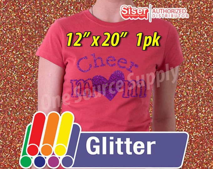 "12"" x 20"" / 1-sheet / Easyweed Glitter  / Combine for Shipping Discount - Heat Transfer Vinyl - HTV"