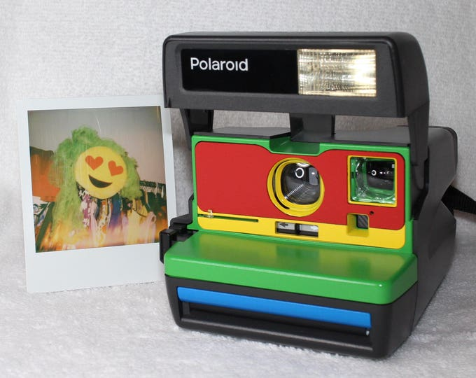Cleaned & Tested Polaroid 600 OneStep - Upcycled Green, Red, Yellow, and Blue With Close Up And Flash Built-In
