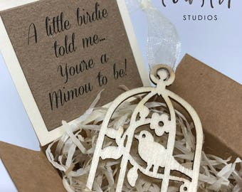Pregnancy Announcement, Baby Announcement, New Baby, New Grandparents, A Little Birdie Told Me, Bird Cage, Baby Reveal, Baby Ornament