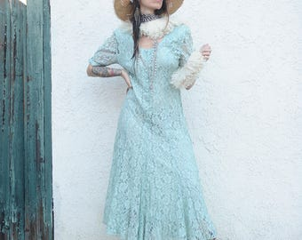 Laced soft baby blue Vintage dress