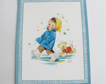 Vintage Mabel Lucie Attwell print - mounted on card with hanging ribbon.