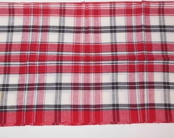 Vintage Red Black White Plaid Small Tablecloth 42 x 38 Inch Linen Table Topper