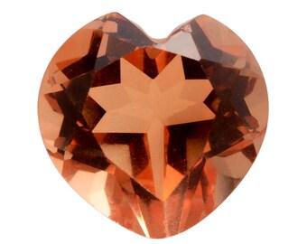 Imperial Orange Triplet Quartz Heart Cut Loose Gemstone 1A Quality 10mm TGW 3.90 cts.