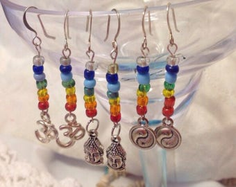 Roygbiv beaded OM sign, Chakra Buddha and Ying and Yang earrings