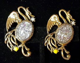 Amazing, vintage 60's, SELRO, large, novelty, dragon, clip earrings with glass cabochon jelly bellies!
