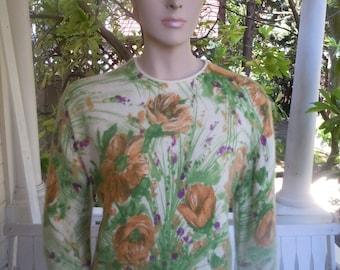 "Bust:  40"" ** Beautiful Angora 1950s Hand Screen Print Darlene Sweater"
