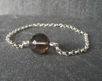 Smoky Quartz and Sterling Silver Bracelet, Sterling Silver Bracelet, Smoky Quartz Bracelet