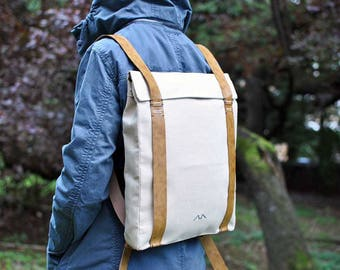 Urban laptop bag, lightweight leather backpack, macbook backpack, city rucksack, canvas laptop backpack, custom backpack 101