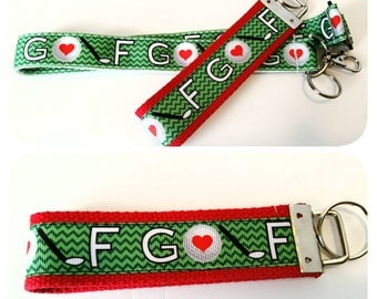 Golf lanyard, badge holder or keychain, Gift for a golf player, Golfing gifts, Golf balls