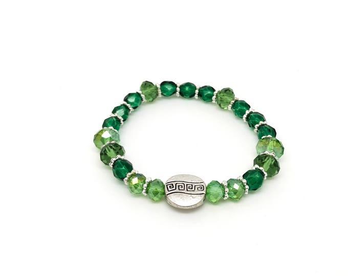 Green Swarovski bracelet, lime bracelet, beaded bracelet, stretching bracelet, green bracelet, handmade bracelet