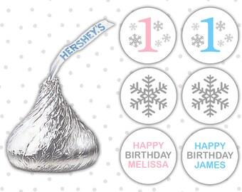 Hershey kiss sticker (108) - Winter onederland decorations - Winter onederland favors - Winter wonderland stickers (HK003)