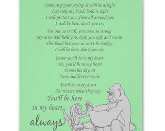 Tarzan etsy youll be in my heart tarzan lyrics print lime green stopboris Images